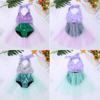 Mermaid Swimwear Baby Girls Sequins Shiny Scale Bikini Swimsuit Swimming Costume