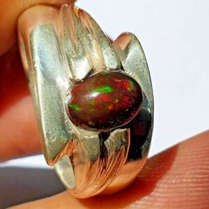 solid 15 gr natural Black Welo fire Opal Handmade 925 Sterling Silver ring اوبال