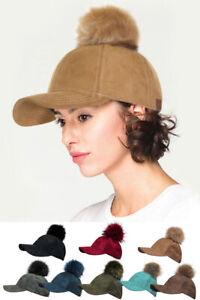 ScarvesMe C.C Women's Fashion Suede Cap With Fur Pom Baseball Cap
