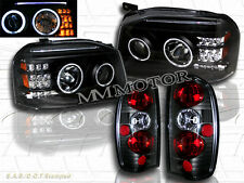 FIT FOR FRONTIER 01-04 CCFL HALO PROJECTOR BLK HEADLIGHTS+JDM BLK TAIL LIGHT