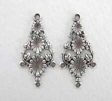 Nouveau Antiqued Silver Ox Chandelier Earring Finding Flower Connector 31mm