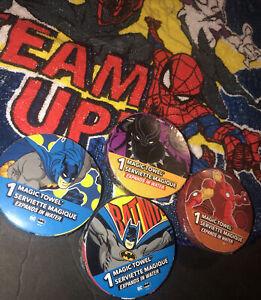 4 Super Hero Magic Towel & Batman Iron Man , Black Panther