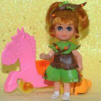 Liddle SKEDIDDLE KIDDLE HEATHER HIDDLEHORSE doll + bow pink PONY pusher - NICE!