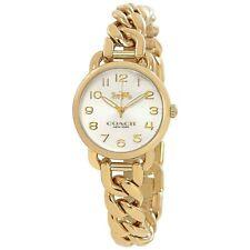 NWT Coach Womens Round Watch Gold SS Bracelet Chain DELANCEY 14502801 $250