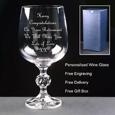 Personalised 230ml Crystal Wine Glass, Retirement Gift,