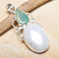"""Fire White Rainbow Moonstone Opal 925 Sterling Silver 2.75"""" Pendant #P14924"""