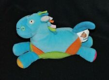 Peluche doudou cheval poney âne BAWI bleu hochet grelot 18 cm de long NEUF