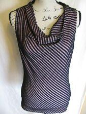 Worthington Stretch Womens M Medium Sleeveless Black Blouse Waterfall Top Shirt
