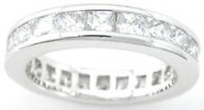 1.5 ct Designer Celebrity Engagement Band Sterling Silver Platinum Fn Size  7