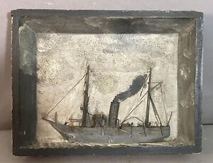 Antique 3D SEASCAPE Nautical STEAM SHIP SHADOWBOX Old MARITIME Folk Art PAINTING