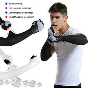 Cooling Arm Sleeves Cover UV Sun Protection Outdoor Sports Cycling With Gloves
