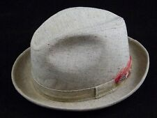 Vintage Men's Gray Beige Light Brown Fedora Hat with Feather Size ~7 1/4