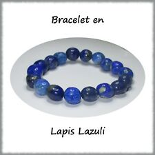 Bracelet en pierres roulées en lapis Lazuli, Minéraux, Lithothérapie, Bijoux