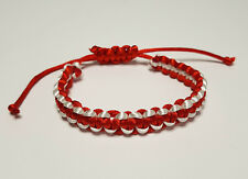Armband Martisor Märzchen Typ Shamballa, rot-weiss, handmade, Handarbeit