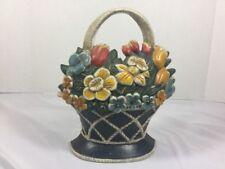Cast Iron Basket Of Flowers Doorstop The Strata Group Flower Basket