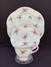 Scarce Shelley FOOTED DAINTY With Pink ROSE SPRAY Tea Cup Saucer Plate TRIO