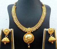 22K Gold Plated Indian 8'' Long Necklace Earrings Indian Nice Party SALE h