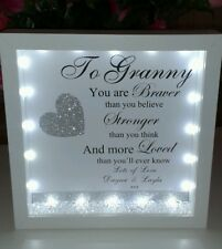 Personalised Granny, mum  3D box frame  gift with lights, diamantes & crystals
