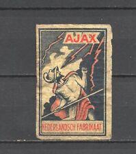 """Made in Holland """"Ajax"""" Old Vintage Matchbox Label"""