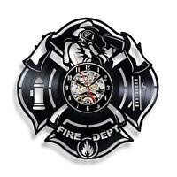 Fire Department Interior Wall Clock vinyl decor man cave firefighter logo emblem