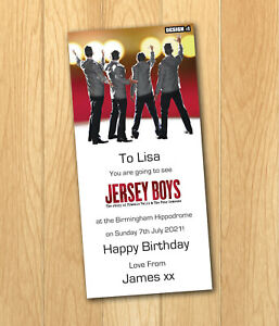 Jersey Boys Fully Personalised Gift Ticket Present Christmas Birthday