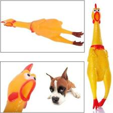 17CM Yellow Screaming Rubber Chicken Pets Dogs Toy Squeak Squeaker Chew Gift BP