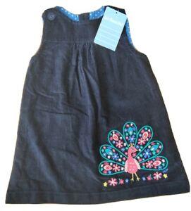 BNWT JoJo Maman Bebe 6-12 months NEW girls peacock applique cord pinafore dress
