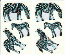 Vtg Hambly Glitter Zebra Family Stickers Lot