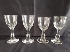 Group of 4 Victorian Cut Glass Small Wine Glasses 19th Century c1860-1880