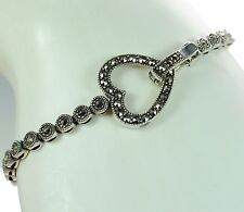 "Solid 925 Sterling Silver Marcasite Heart Clasp Bracelet 7"" L '"