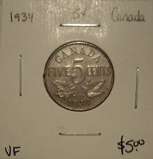 Canada George V 1934 Five Cents - VF