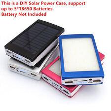 Solar Power Bank 5* 18650 Battery Charger Case Dual USB Box 20 LED DIY Kit