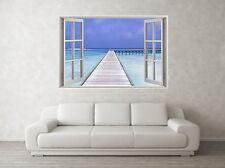 Beach Jettee Scene 3D Full Colour Window Home Wall Art Stickers Mural Decal