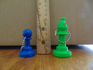 2 Chess Piece Keychains blue Pawn and Green Bishop