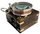 Compass with Wooden Box Antiqu Nautical Brass Vintage Gift For Sailor Father Day