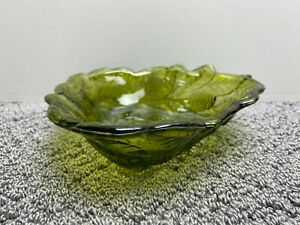 """Indiana Green Glass Loganberry & Leaf Textured Pattern Candy Dish Bowl 7 1/4"""""""