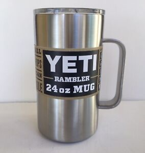 YETI STAINLESS STEEL 24 oz Rambler Mug Tumbler With Handle Beer Coffee Cup