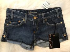 Bebe ~ Denim Jean Daisy Duke  Summer Shorts ~ Size 26 ~ NWT