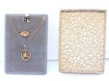 Antique 10k Yellow Gold Faux Pearl Pendant & Little Girl Ring Set in Box #EST600