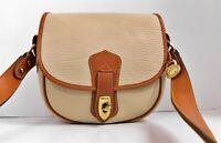 Dooney Bourke Vintage Beige British Brown Leather Flap Crossbody Bag
