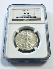1943 50C AU58 Liberty Walking NGC Brown Label Half Dollar 50 Cents - Ships Fast