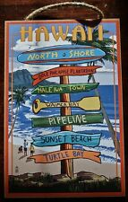 HAWAIIAN SURFING DIRECTION SIGN North Shore Pipeline Waimea Beach Home Decor NEW
