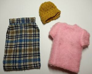 Vintage Barbie Doll Clothes - Checked Skirt, Pink Top & Brown Beanie Hat