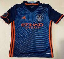Adidas Nycfc New York City Football Club Etihad Airways Boys Blue Jersey Size M