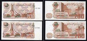 Algeria / Algerie - 200 dinars 1983 BB+/VF+ (Set 2 banconote consecutive)  B-01