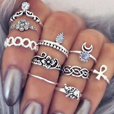 10PCS Knuckle Ring Set Silver Tone Different sizes Elephant White Crystal RST04