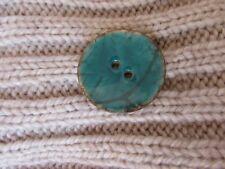 Single Button Enamel Coconut Button 40mm Turquoise Statement Button