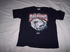 NFL Reebok Miami Dolphins Striped Helmet Youth T Shirt ~ Medium ~ Navy
