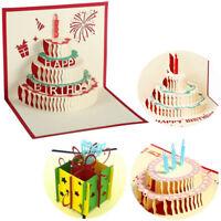 4 Stueck 3D Pop Up Geburtstagskarten Happy Birtay Grusskarten mit Umschlag T3E5