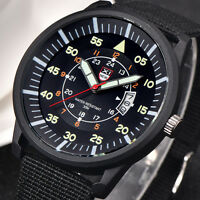 Herren Luxus Militär Sportuhr Armbanduhr Datum Edelstahl Quarz Watch Schwarz